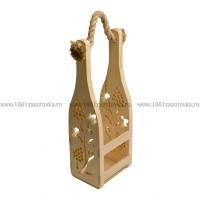 Короб под бутылку шампанского с веревкой (перфорированная декорация)