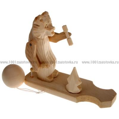 """Богородская игрушка  """"Мишка с гантелями"""""""