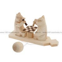"""Богородская игрушка """"Мишки играют в шахматы"""""""
