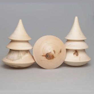 Деревянная заготовка ёлки-неваляшки с музыкальным элементом (неразборная) 14см с уценкой