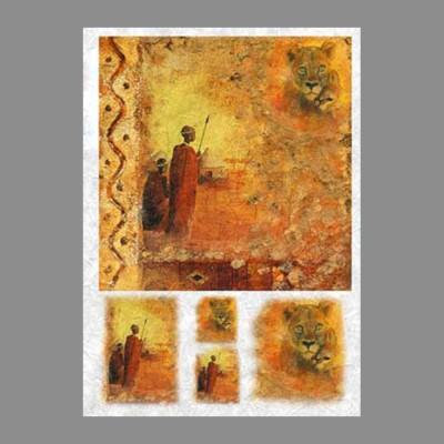 """Бумага рисовая IRP 32 x 45 0014 Африканские охотники """"Love2art"""""""