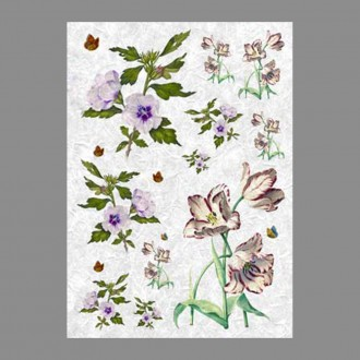 "Бумага рисовая IRP 32 x 45 0037 Цветы и бабочки ""Love2art"""