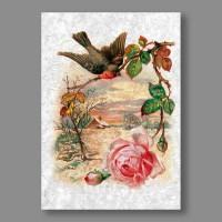 "Бумага рисовая IRP 32 x 45 0127 Птица с розой ""Love2art"""
