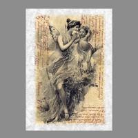 """Бумага рисовая IRP 32 x 45 0129 Ангелы на пергаменте """"Love2art"""""""