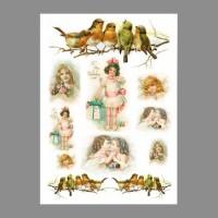 """Бумага рисовая IRP 32 x 45 0169 Девочки и птицы """"Love2art"""""""