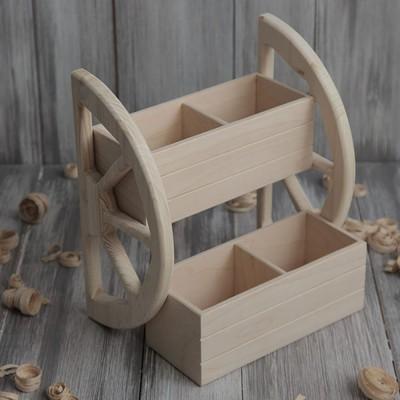 Полка деревянная под специи с фанерными ящиками