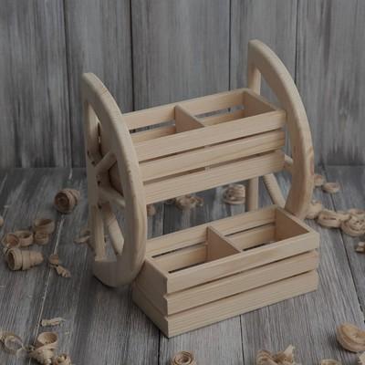 Полка деревянная под специи с реечными ящиками