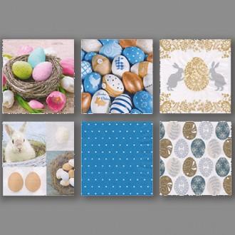 "Салфетки бумажные АССОРТИ 3х слойные ""Love2art"" SDD 33 x 33 12 шт. Набор №1217-08 ""Пасхальные яйца"""