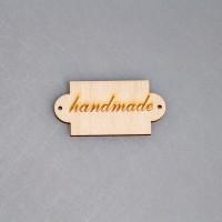 """Деревянная бирка с надписью """"hand made"""" (прямоугольная)"""