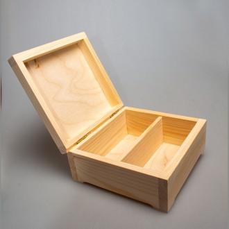 Деревянная шкатулка для рассыпного чая в пакетах на 2 отделения