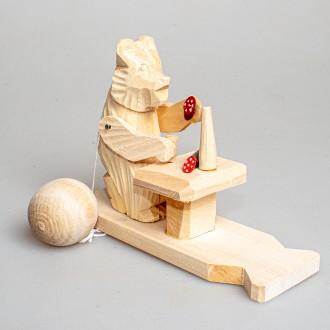 """Деревянная богородская игрушка  """"Мишка за столом"""""""