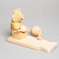 """Деревянная богородская игрушка  """"Мишка ест кашу"""""""