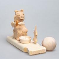 """Деревянная богородская игрушка  """"Мишкин обед"""""""