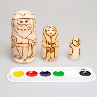 """Набор """"Распиши деревянную матрешку (Дед Мороз)"""" 3-х кукольная"""