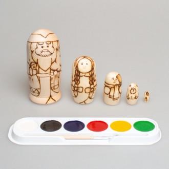 """Набор """"Распиши деревянную матрешку (Дед Мороз)"""" 5-ти кукольная"""
