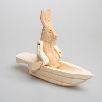 """Деревянная богородская игрушка  """"Зайка в лодке"""""""
