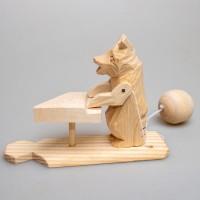 """Деревянная богородская игрушка  """"Мишка-музыкант"""""""