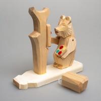 """Деревянная богородская игрушка """"Мишка-художник"""""""