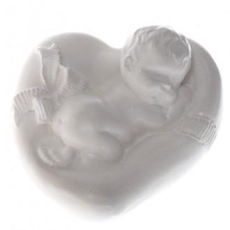 """Фигурка из гипса """"Младенец на подушке-сердечке-1"""""""
