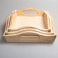 Набор из трех деревянных подносов для декупажа (сосна) 009