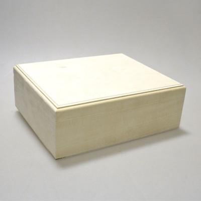 Деревянная заготовка шкатулка прямоугольная прямоугольная (с фрезой) внутри 6 ячеек 24 х 20 х 10 см