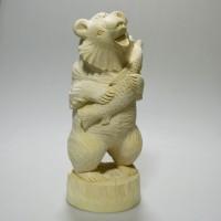 """Резная деревянная заготовка """"Медведь с рыбой"""""""