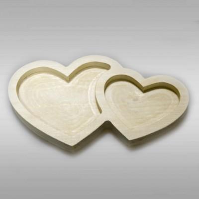 """Декоративная деревянная тарелочка из сосны """"Сердца"""""""