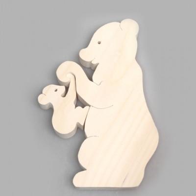 """Деревянный пазл """"Медведица с детенышем"""""""
