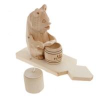 """Деревянная богородская игрушка """"Мишка с бочонком меда"""""""