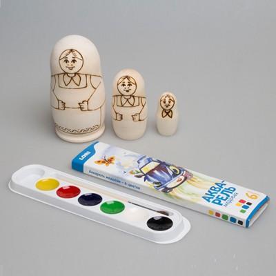 """Набор """"Распиши деревянную матрешку (Традиция 1)"""" 3-х кукольная"""
