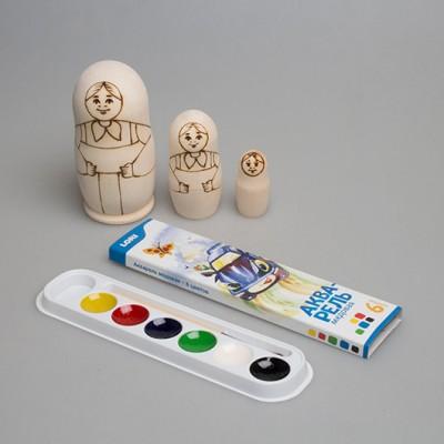 """Набор """"Распиши деревянную матрешку (Традиция 2)"""" 3-х кукольная"""