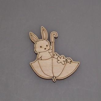 """Заготовка для значка """"Кролик в зонтике"""""""