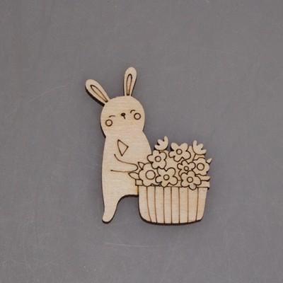 """Заготовка для значка """"Кролик с корзинкой цветов"""""""