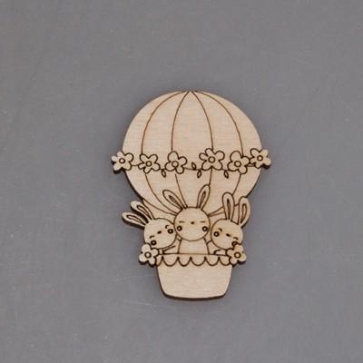 """Заготовка для значка из фанеры """"Кролики на воздушном шаре"""""""