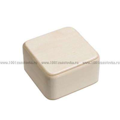 Деревянная заготовка шкатулка квадратная (с округленными углами) 9х 9 х 5 см