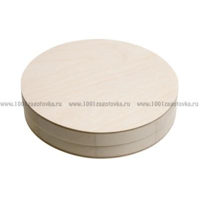 Деревянная заготовка шкатулка круглая (низкая) 15 см