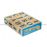 Кубики из дерева Алфавит английский, 12 шт.