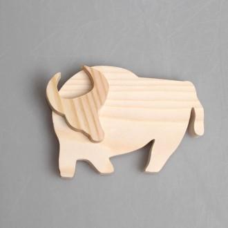 """Фигурка из дерева составная """"Норовистый бык"""""""