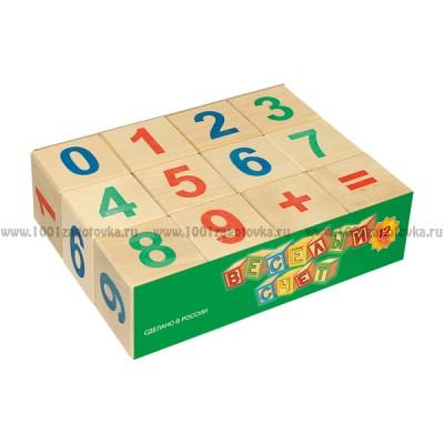 Кубики из дерева Веселый счет, 12 шт.
