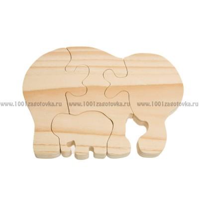 """Деревянный пазл """"Слониха со слоненком"""""""