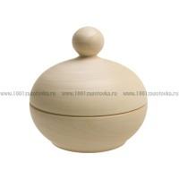 Деревянная заготовка шкатулка круглая (крышка с цельной ручкой) 12,5 см