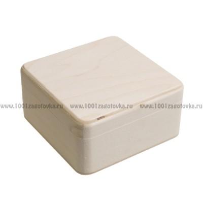 Деревянная заготовка шкатулка квадратная (с округленными углами) 14 х 14 х 7 см