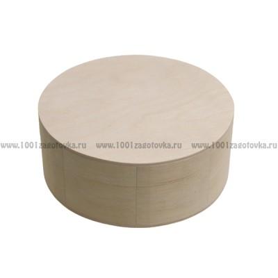 Деревянная заготовка шкатулка круглая (средняя) 15 см