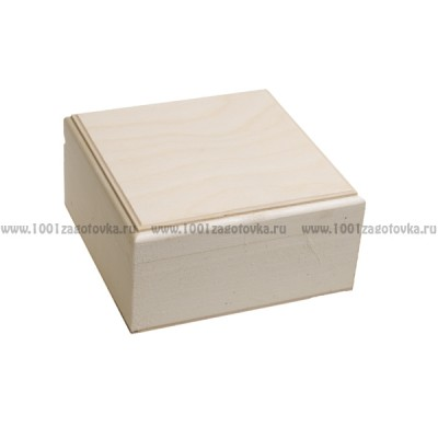 Деревянная заготовка шкатулка квадратная (с фрезой) 14 х 14 х 7 см