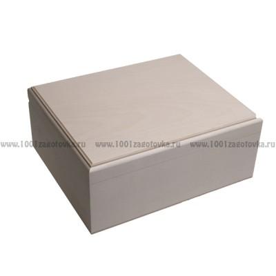 Деревянная заготовка шкатулка прямоугольная прямоугольная (с фрезой) 24 х 20 х 10 см