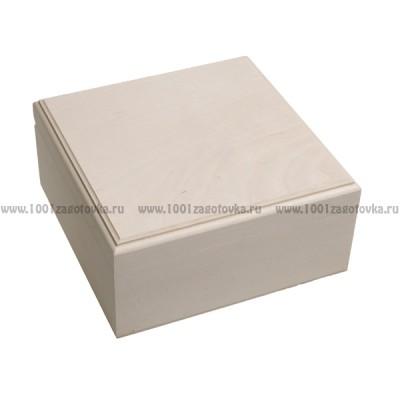 Деревянная заготовка шкатулка квадратная (с фрезой, внутри 4 ячейки) 18 х 18 х 8 см