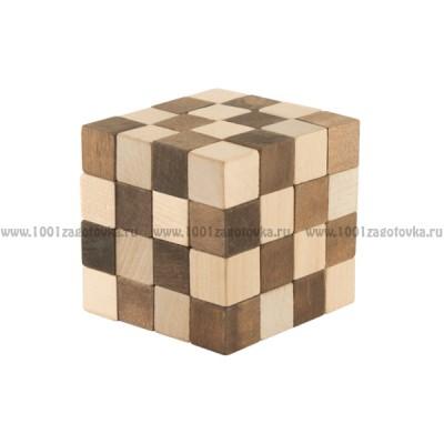 "Головоломка ""Куб змейка"" 4х4 из дерева"