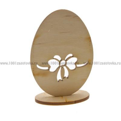 """Настольный сувенир """"Пасхальное яйцо с бантом"""" из фанеры"""