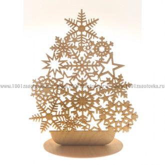 Ёлка-Снежинка из фанеры (на подставке)