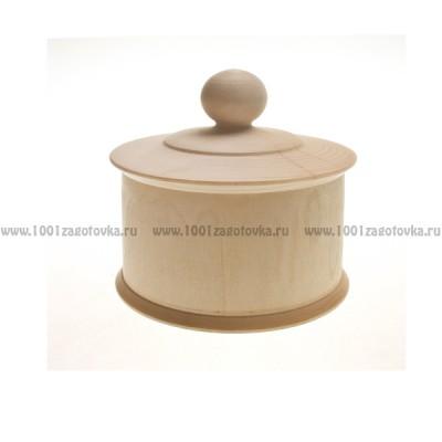 Деревянная заготовка шкатулка круглая с ручкой на крышке
